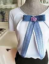 Mašľa Mineta - brošňa modrá, ruža fialová