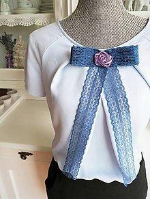 Odznaky/Brošne - Mašľa Mineta - brošňa modrá, ruža fialová - 9648220_
