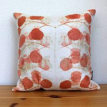 Úžitkový textil - eco-print obliečka na vankúš 12, 40 x 40 - 9646280_