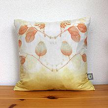 Úžitkový textil - eco-print obliečka na vankúš 5, 40 x 40 - 9646299_
