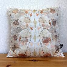 Úžitkový textil - eco-print obliečka na vankúš 18, 40 x 40 - 9646449_