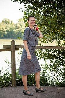 Tehotenské oblečenie - Sivé šaty na dojčenie s lodičkovým výstrihom - 9646781_