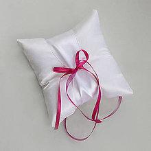 Prstene - Biely saténový vankušik s farebnou mašličkou - možnosť zmeniť farbu mašličky (Bordová) - 9645181_