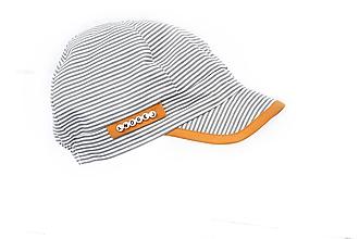 Doplnky - Letná šiltovka pásiky sivá & horčica - 9648574_