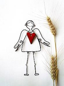 Iné - anjel s keramickým ♥ - 9646173_