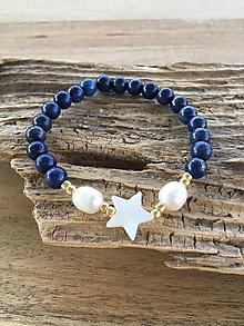 Náramky - Náramok lapis lazuli a perly - 9650040_