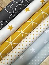 Textil - České bavlnené látky s certifikátom Ökotex Standard 100 trieda I. (Biele hviezdy na svetlošedej) - 9649678_