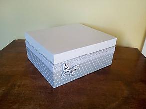 Krabičky - bodkovaná biela - 9650720_