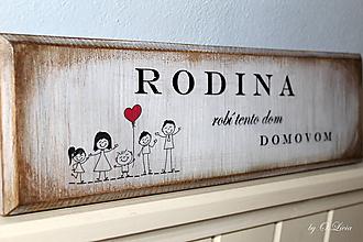 Tabuľky - Rodina robí tento dom domovom - tabuľka s jaseňa - 9649000_