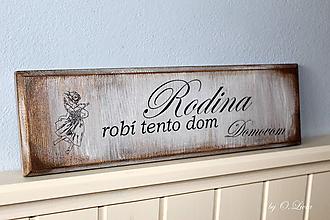 Tabuľky - Rodina robí tento dom domovom - tabuľka s jaseňa II - 9649007_