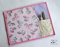 Textil - Detské prestieranie s vreckom na príbor Jednorožce - 9651306_