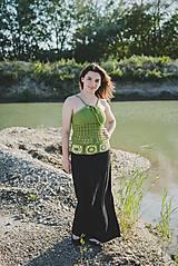 Topy - Zelený háčkovaný top - 9650838_