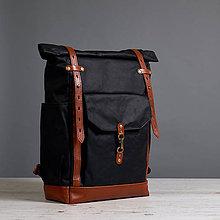 Batohy - Čierný/ryšavý mestský batoh z kože a voskovaného plátna. - 9649927_