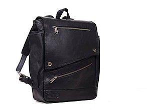 Batohy - Čierny mestský batoh z kože a voskovaného plátna. Čierný ruksak. - 9650050_