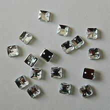 Iný materiál - Našívacie kamienky štvorcové kryštál 6mm - 9650710_