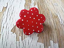 Brošne - AKCIA! maľovaná bodkovaná červená brošňa-kvet - 9649280_