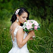 Kytice pre nevestu - Svadobná kytica z ružových pivoniek a ruží, väčšia - 9652432_