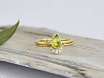 14k zlatý komplet prsteňov mesiac s prírodným olivínom