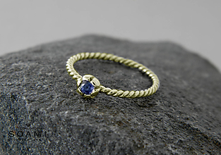 Prstene - 585/14k zlaty prsteň s prírodným modrým zafírom - 9653963_