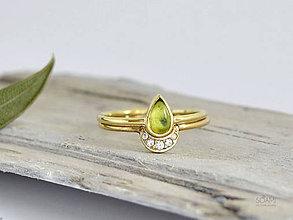 Prstene - 14k zlatý komplet prsteňov mesiac s prírodným olivínom - 9654264_