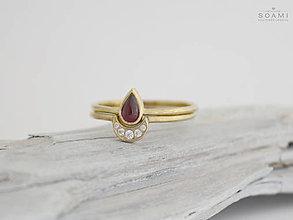 Prstene - 585/1000 zlatý komplet prsteňov mesiac s prírodným granátom - 9654512_