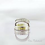 Prstene - Zirkónové dvojfarebné obrúčky - 9653685_