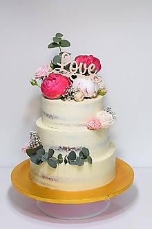 Dekorácie - Zápich na tortu Love so srdiečkami - 9654735_
