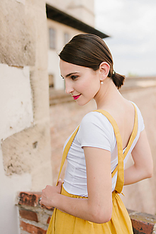 Tričká - Bamboo Rozálie bílé (výstřih vepředu i vzadu), s krátkým rukávem - 9654065_