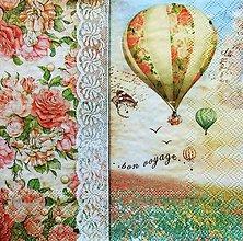 Papier - S1234 - Servítky - balón, krajka, čipka, ruža, lúka, vintage, vtáky - 9652059_