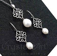 Sady šperkov - Strieborná súprava s riečnymi perlami - 9652684_