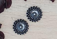 Náušnice - Nika - náušnice so swarovski (Čierna) - 9653390_