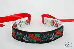 Opasky - Folk opasok 5,5 cm obojstranný (Bielo - čierny opasok s červenou stuhou (obvod pásu do 80 cm)) - 9653645_