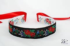 Opasky - Folk opasok 5,5 cm obojstranný (Bielo - čierny opasok s červenou stuhou (obvod pásu do 80 cm)) - 9653646_