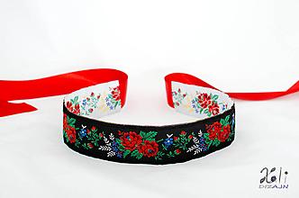 Opasky - Folk opasok 5,5 cm obojstranný (Bielo - čierny opasok s červenou stuhou (obvod pásu do 80 cm)) - 9653644_