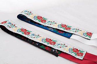 Opasky - Folk opasok 5,5 cm obojstranný (Bielo - modrý opasok s bielou stuhou (obvod pásu do 80 cm)) - 9653675_