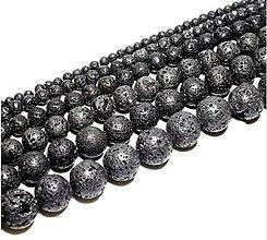 Minerály - Korálka prírodná - čierna láva 12mm - 9651775_