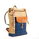 Batohy - Béžový/modrý mestský batoh  z kože a voskovaného plátna. - 9653386_