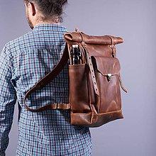 Batohy - Ryšavý kožený mestský  batoh. Módny ruksak. - 9653212_