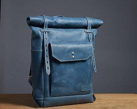 Batohy - Modrý kožený batoh. Mestský ruksak. - 9653268_