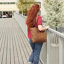 Veľké tašky - Hnedá taška z kože a voskovaného plátna. - 9654603_