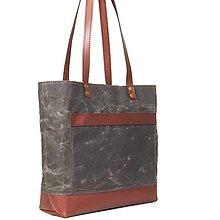 Veľké tašky - Čokoladová taška z kože a voskovaného plátna. - 9654611_