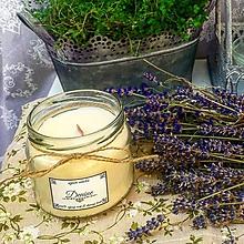 Svietidlá a sviečky - Sójová sviečka s dreveným knôtom s vôňou levandule - 9654615_