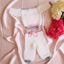 Detské oblečenie - Detská štrikovaná súprava pre bábätko na mieru Dyona - 9652041_