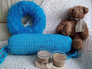 Úžitkový textil - VANKÚŠ - pletený z tričko priadze valec TYRKYS - 9653146_