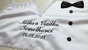 0ce49e599 ... Iné doplnky - Dvojitý svadobný podbradník Ona a on maxi lemovanie  kvietočky a čierná výšivka ...