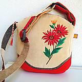 ! ! ZĽAVA ! ! ! Menčestrová kabelka  (Červená svetlobéžová)