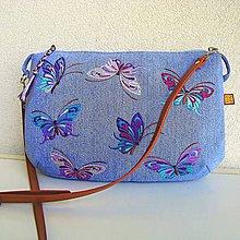 Kabelky - Džínsová motýliková kabelka - 9651745_