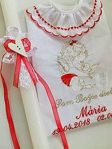 Detské doplnky - Košieľka k34 červenostrieborná a sviečka s bielou čipkou, srdiečkom a červenou mašličkou - 9654011_