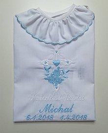 Detské oblečenie - Vyšívaná košieľka na krst K22 modrá - 9654498_