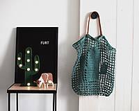 """Veľké tašky - Sieťka s koženými rúčkami """"F_11"""" - Kaktus - 9657633_"""